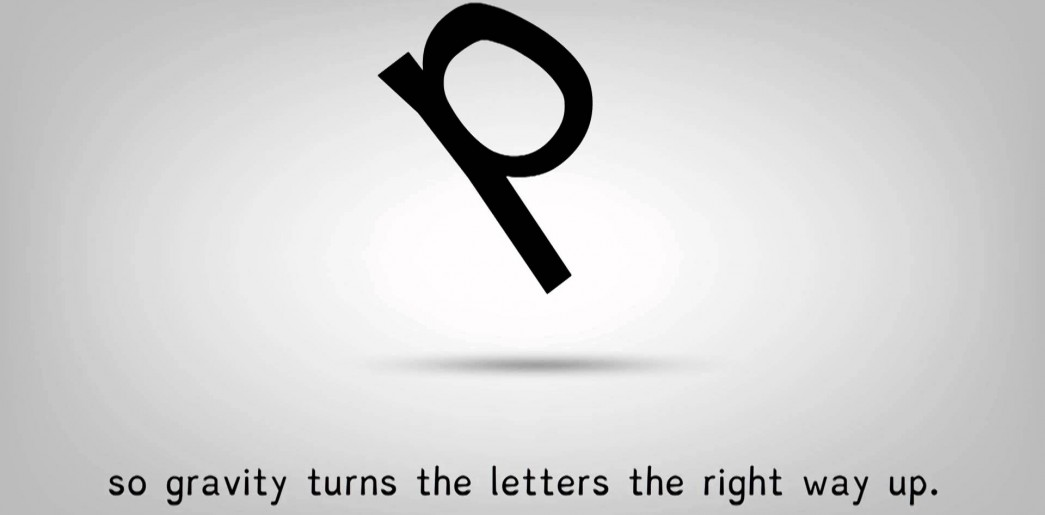 Example of spatial letter rotations in dyslexia