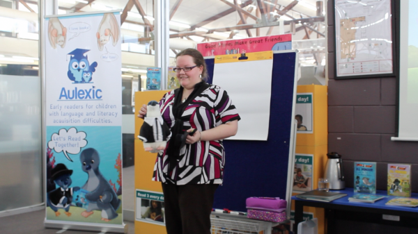 Me in Bec J. Smith mode introducing P.I. Penguin to a group of Primary School students during Book Week.