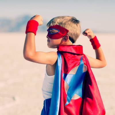Focus on your children's strengths: A young superhero duo. Vanquishing evil in a single afternoon. It is never too early to flex your muscles.