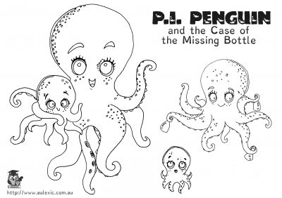 Gloomy Octopus - P.I. Penguin Colour In