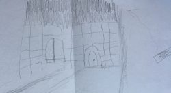 P.I. Penguin's house from the front as imagined and drawn by Joshua.